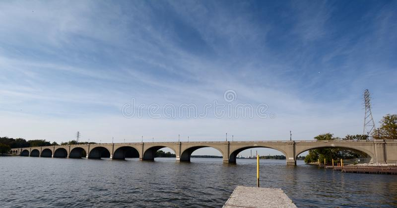 Cirrus Coulds Over The Vachel Lindsay Bridge. This is a Fall picture of the Vachel Lindsay bridge that spans Lake Springfield located in Sangamon County stock photos