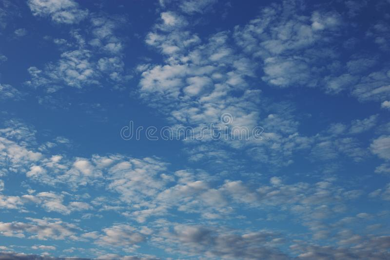 Cirrus cumulus clouds on a blue sky. Background blank texture. Bright, clear, natural, space, pattern, dreamy, climate, stratus, orange, evening, color, white stock photo