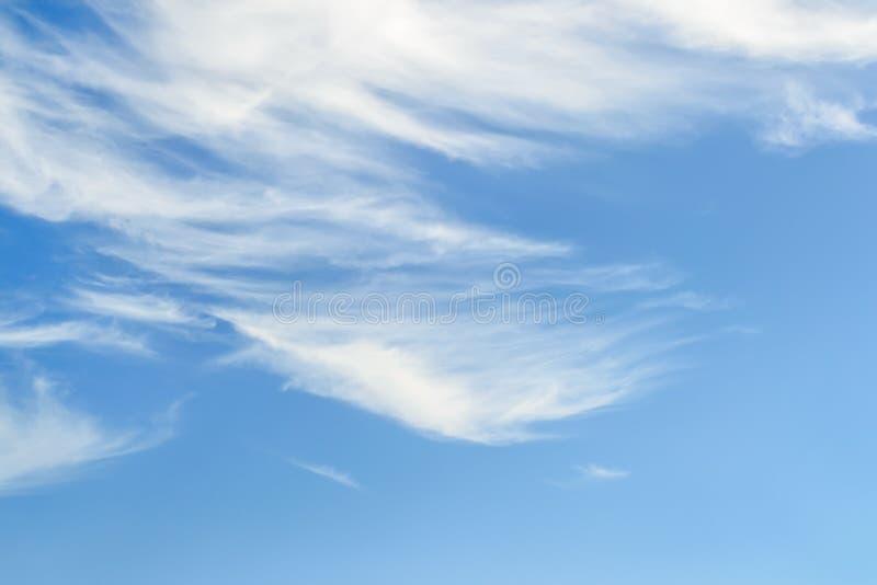 Cirrus pelucheux blancs dans une stratosphère Fibre légère comme des nuages d'embruns hauts dans le ciel bleu d'été Différents ty photo libre de droits