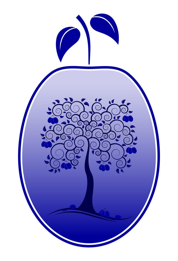 Ciruelo con la decoración del árbol de ciruelo ilustración del vector