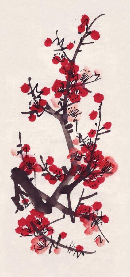 Ciruelo de Sumi-e libre illustration