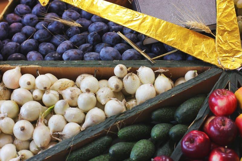 Ciruelos, cebollas, pepinos y manzanas de la cosecha imagen de archivo