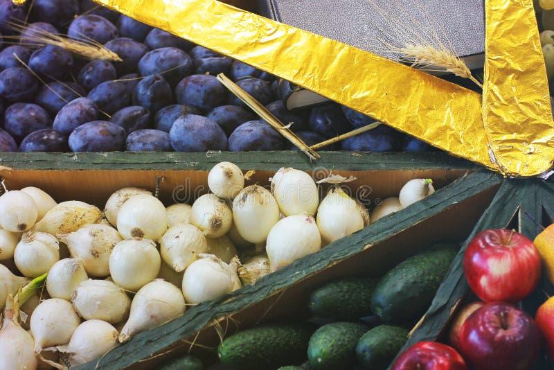 Ciruelos, cebollas, pepinos y manzanas de la cosecha fotografía de archivo