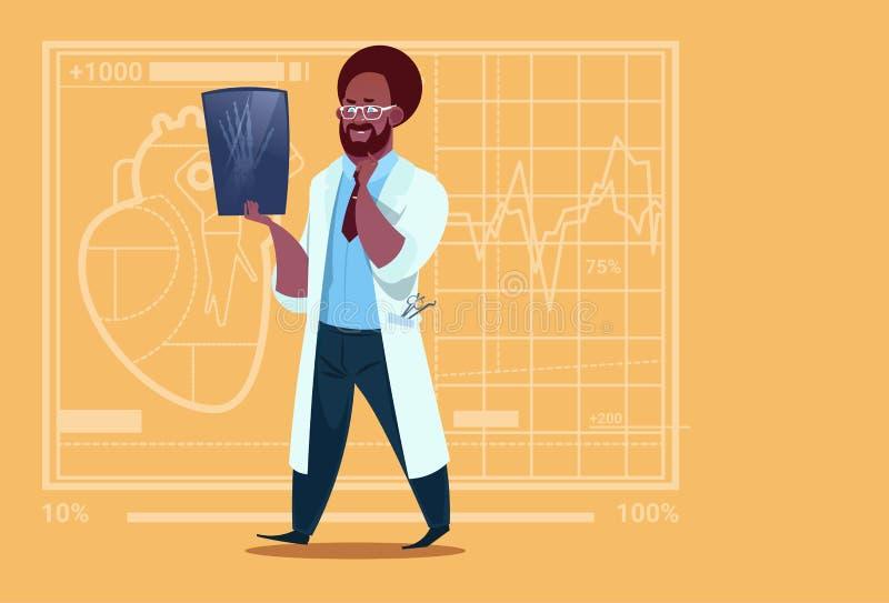 Cirugía afroamericana del hospital del trabajador de las clínicas del doctor Examining Xray Medical ilustración del vector