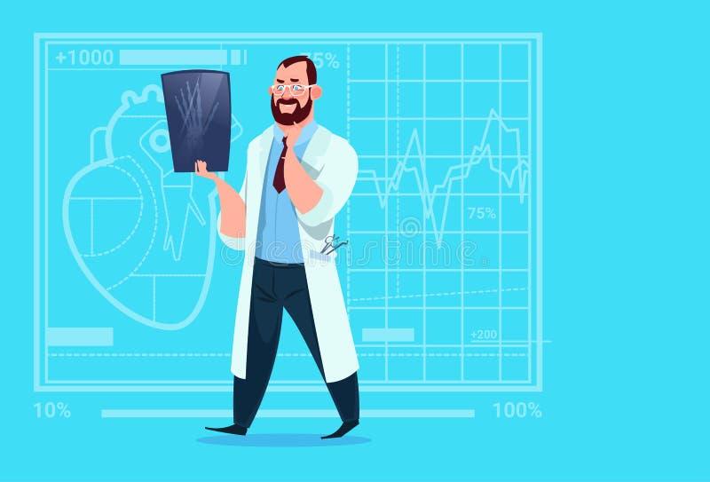 Cirugía del hospital del trabajador de las clínicas del doctor Examining Xray Medical stock de ilustración