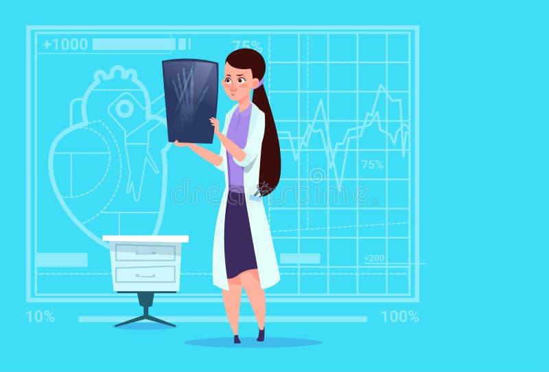 Cirugía femenina del hospital del trabajador de las clínicas del doctor Examining Xray Medical ilustración del vector
