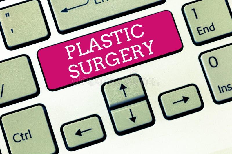 Cirugía plástica del texto de la escritura Proceso del significado del concepto de las piezas de la reconstrucción o de reparació imágenes de archivo libres de regalías