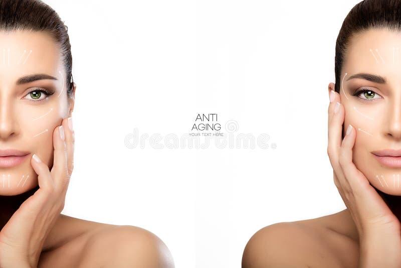 Cirugía y concepto antienvejecedor Dos medios retratos de la cara fotografía de archivo