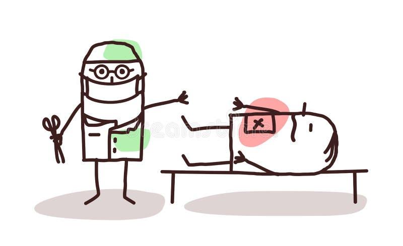 Cirujano de la historieta con el paciente en una tabla ilustración del vector