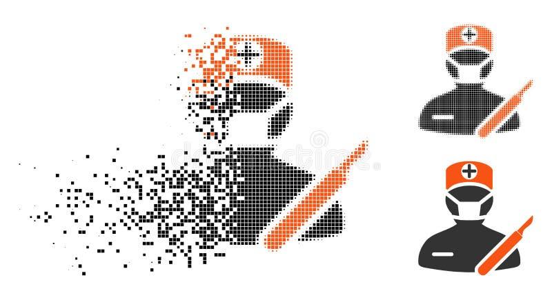 Cirujano de semitono fracturado Icon del pixel stock de ilustración