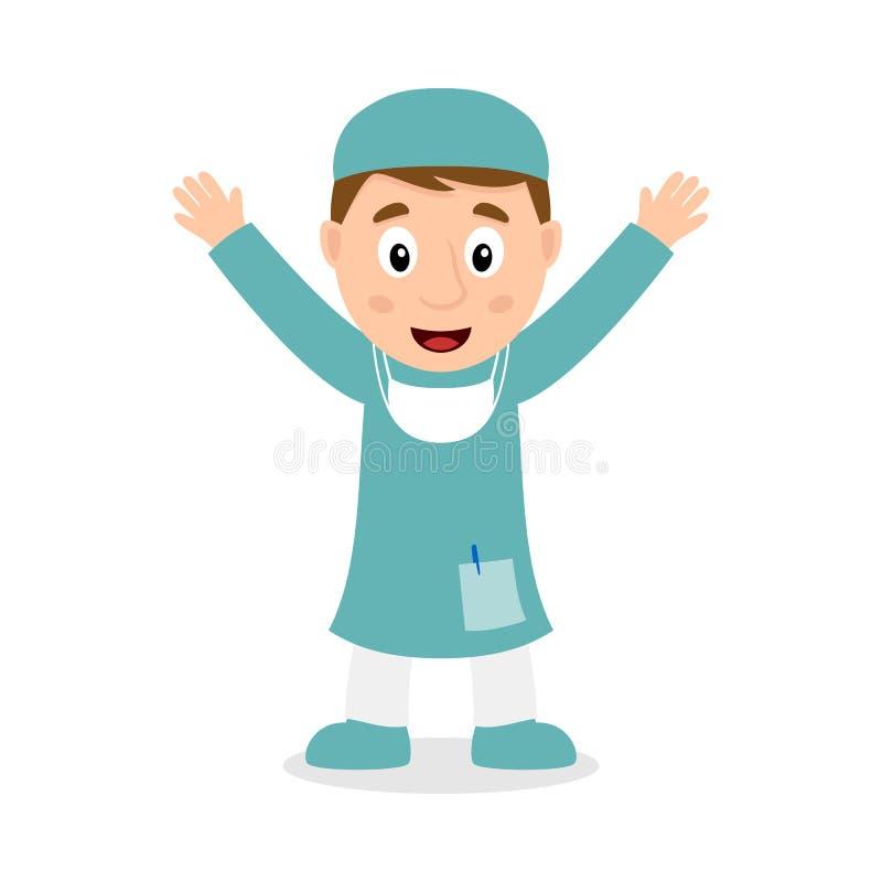 Cirujano de sexo masculino sonriente Cartoon Character libre illustration
