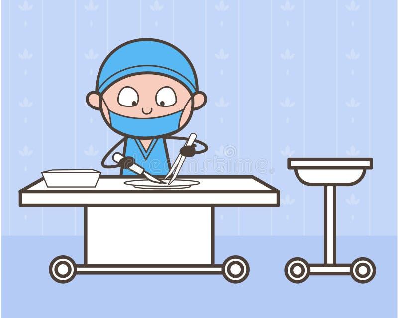 Cirujano Doing Experiment de la historieta en concepto del vector del laboratorio médico ilustración del vector