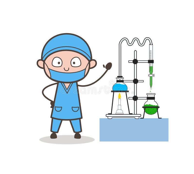 Cirujano Doing Experiment de la historieta en el ejemplo del vector del laboratorio stock de ilustración