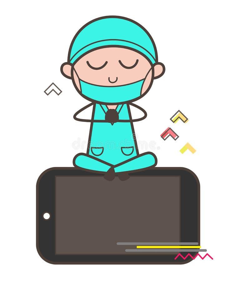 Cirujano Doing Meditation Over de la historieta el vector de Smartphone stock de ilustración