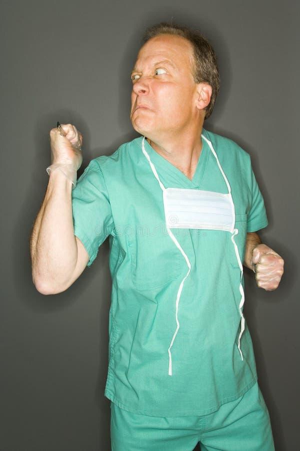 Cirujano loco foto de archivo libre de regalías