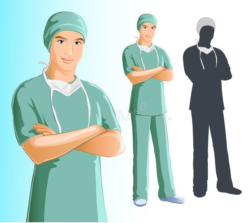 Cirurgião (homem) ilustração stock