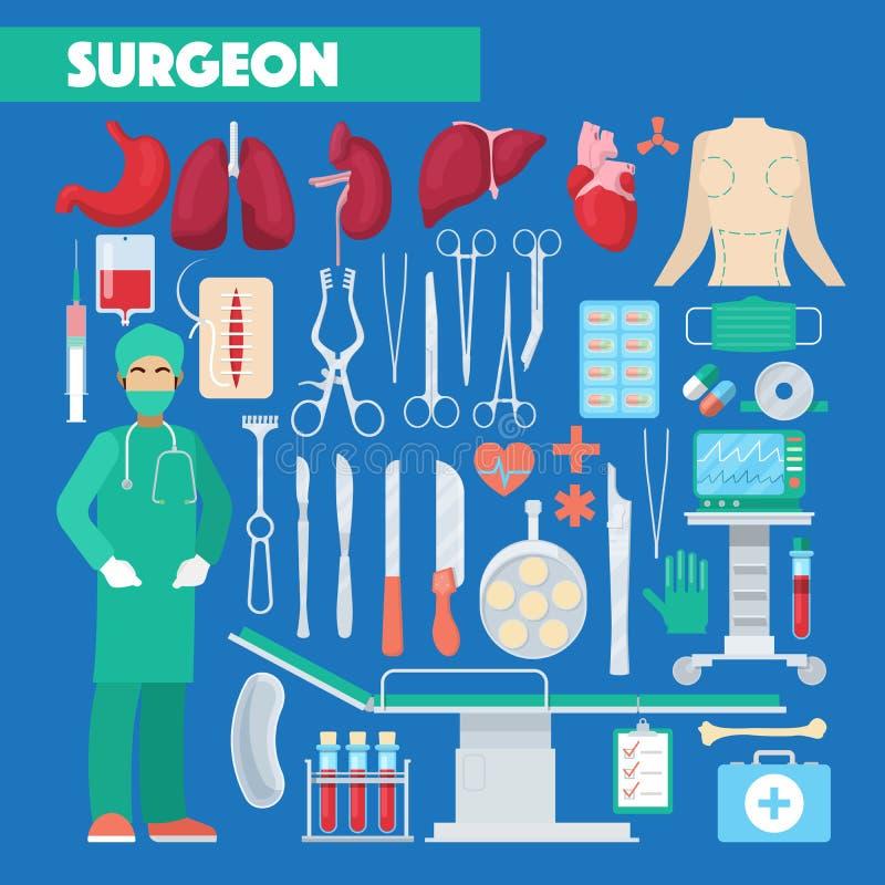 Cirurgião Medical Tools da profissão com órgãos humanos da anatomia ilustração stock