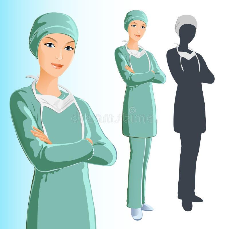 Cirurgião (mulher) ilustração royalty free