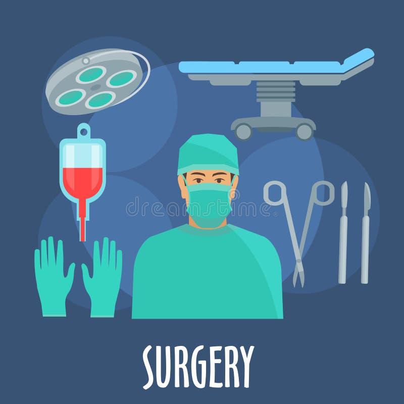 Cirurgião na sala de operações com ícone dos instrumentos ilustração stock