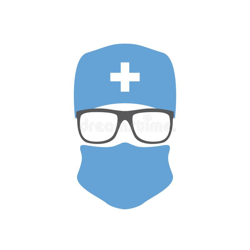 Cirurgião no chapéu, na máscara e nos vidros ilustração do vetor