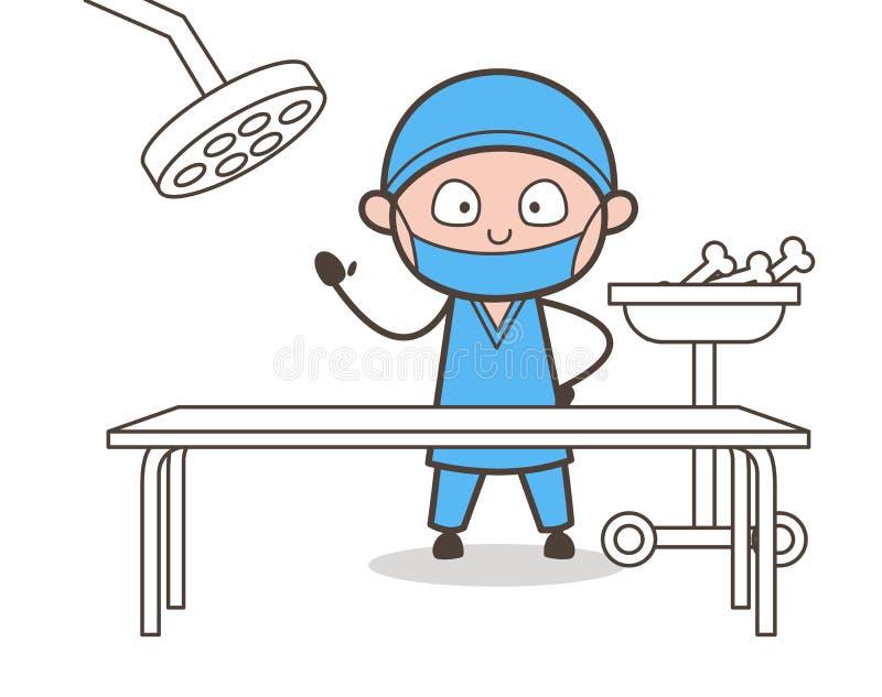 Cirurgião ortopédico assustado na ilustração do vetor do teatro de operação ilustração stock