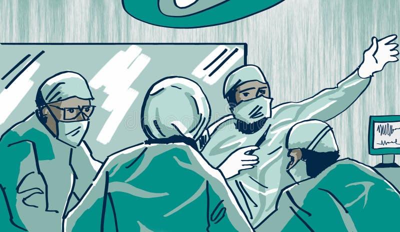 Cirurgiões na sala de operações em pleno ato do funcionamento ilustração royalty free