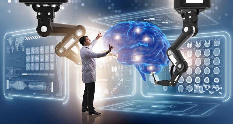 A cirurgia de cérebro feita pelo braço robótico fotografia de stock