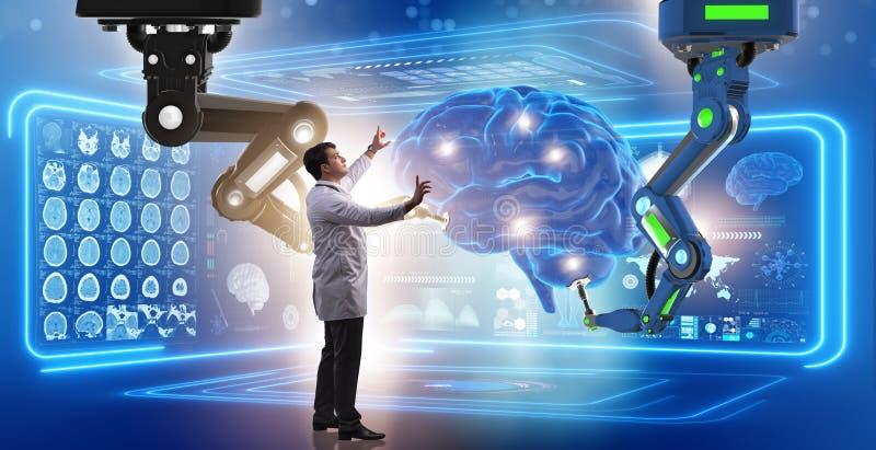 A cirurgia de cérebro feita pelo braço robótico imagem de stock