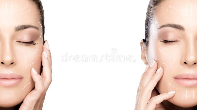 Cirurgia e conceito antienvelhecimento Close up de dois retratos da cara da beleza Mulher dos termas da cara da beleza imagens de stock royalty free