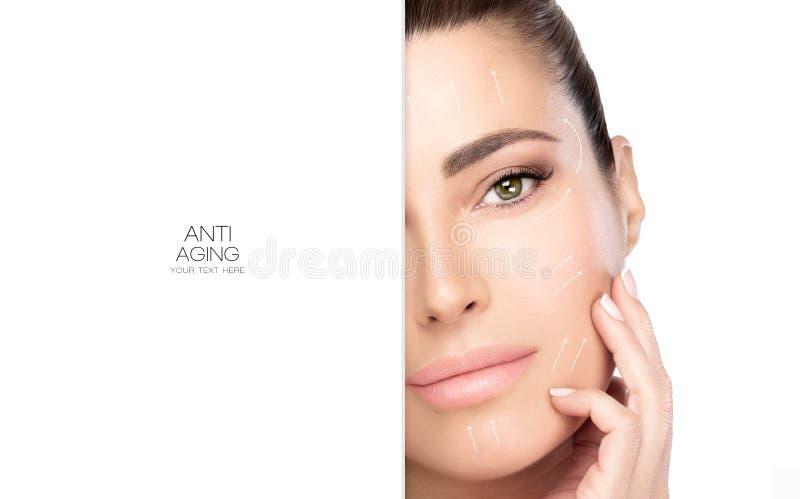 Cirurgia e conceito antienvelhecimento Mulher dos termas da cara da beleza fotografia de stock