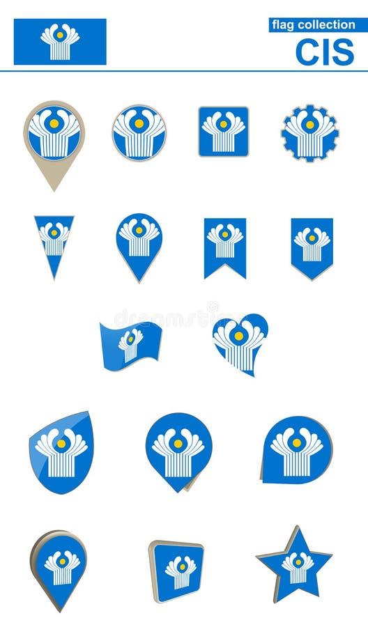 CIS Flag Collection Grande insieme per progettazione illustrazione di stock