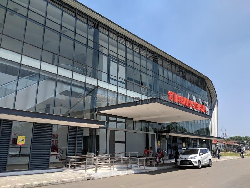 Cisauk station i Serpong royaltyfria foton