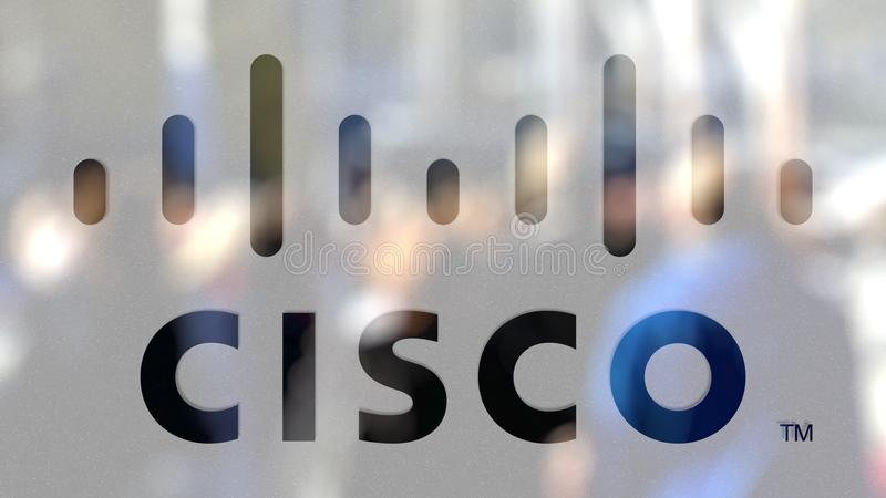 Cisco Systems-Logo auf einem Glas gegen unscharfe Menge auf dem steet Redaktionelle Wiedergabe 3D stock abbildung