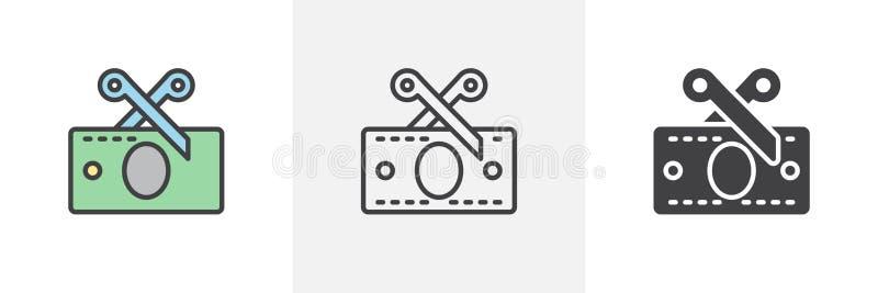 Ciseaux coupant l'ic?ne de facture d'argent illustration stock