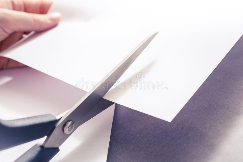 Ciseaux coupant le livre blanc, Holded par les mains femelles photos libres de droits