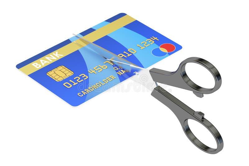 Ciseaux coupant un concept de carte de crédit, rendu 3D illustration de vecteur