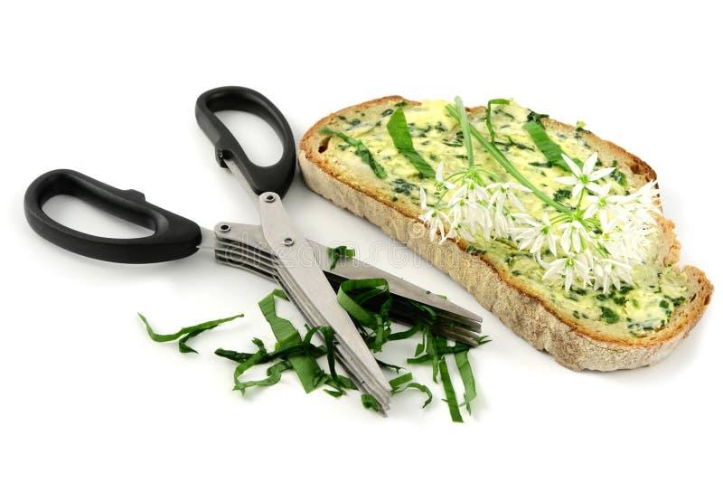Ciseaux d'herbe avec la tranche de pain de beurre d'ail sauvage sur le backg blanc image stock