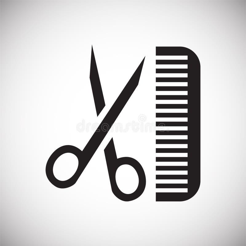 Ciseaux de coupe de cheveux d'animal familier et peigner l'icône sur le fond blanc pour le graphique et la conception web, signe  illustration de vecteur