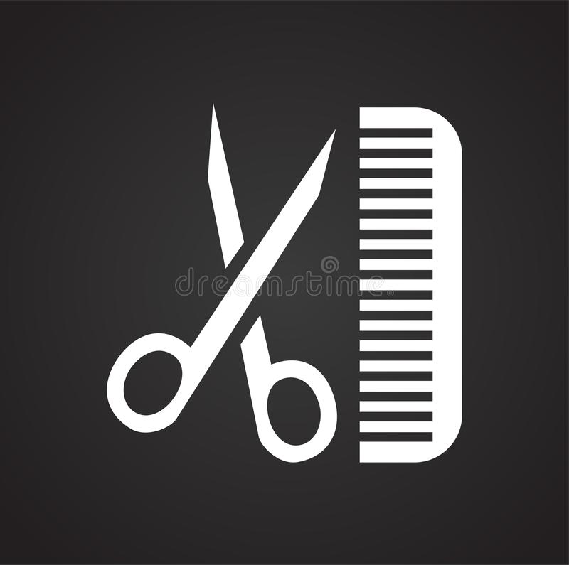 Ciseaux de coupe de cheveux d'animal familier et peigner l'icône sur le fond noir pour le graphique et la conception web, signe s illustration libre de droits
