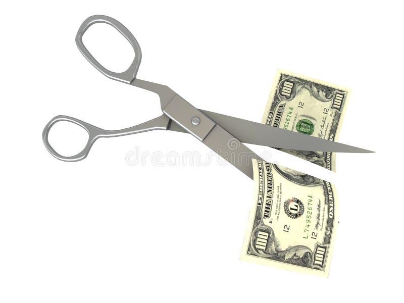 ciseaux de note du dollar de découpage illustration stock