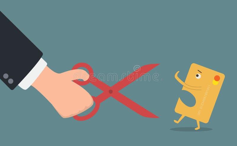Ciseaux de prise de main d'homme d'affaires coupant la carte de crédit illustration libre de droits