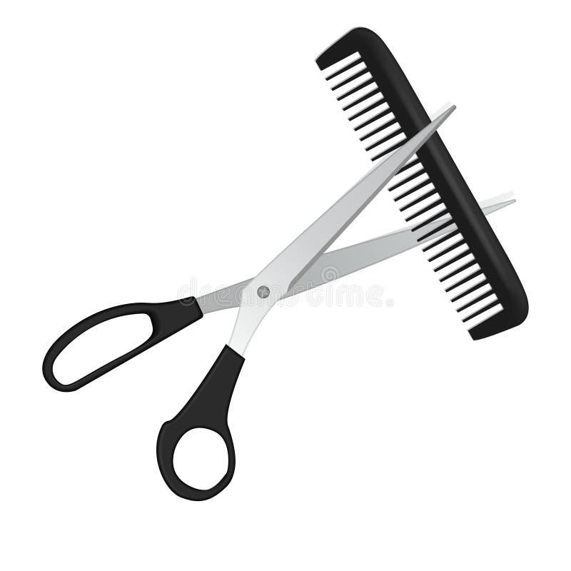 Ciseaux et peigne pour des cheveux d'isolement sur le blanc illustration libre de droits