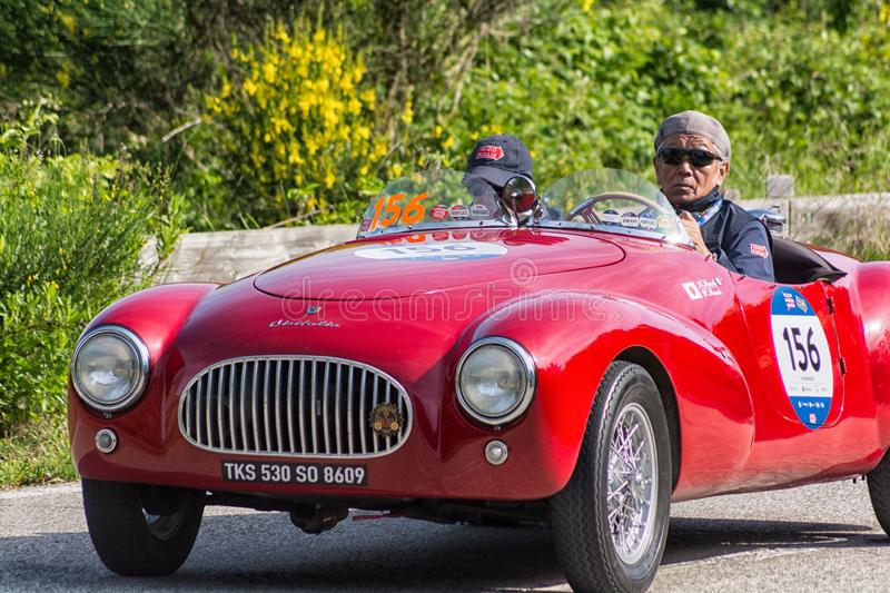CISITALIA COLOMBO BARCHETTA 1948. PESARO COLLE SAN BARTOLO , ITALY - MAY 17 - 2018 :old racing car in rally Mille Miglia 2018 the famous italian historical race royalty free stock photography