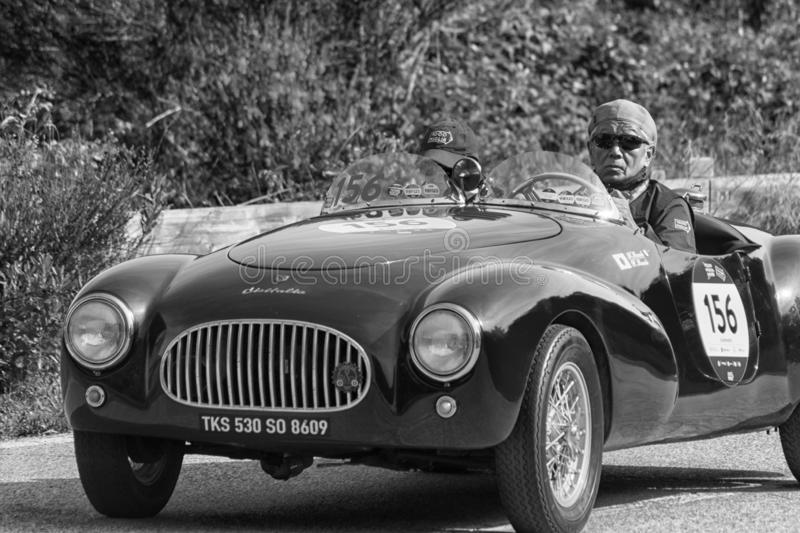 CISITALIA COLOMBO BARCHETTA 1948. PESARO COLLE SAN BARTOLO , ITALY - MAY 17 - 2018 :old racing car in rally Mille Miglia 2018 the famous italian historical race royalty free stock image