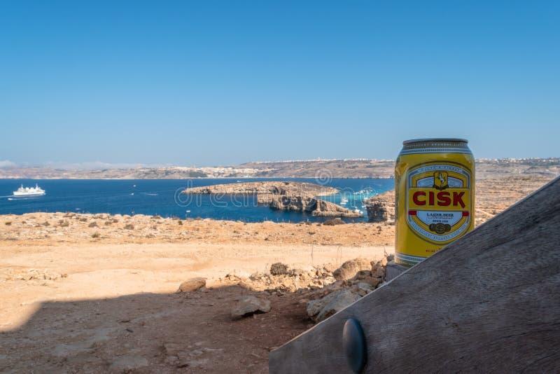 Cisk Lager Beer Can In Comino arkivbild
