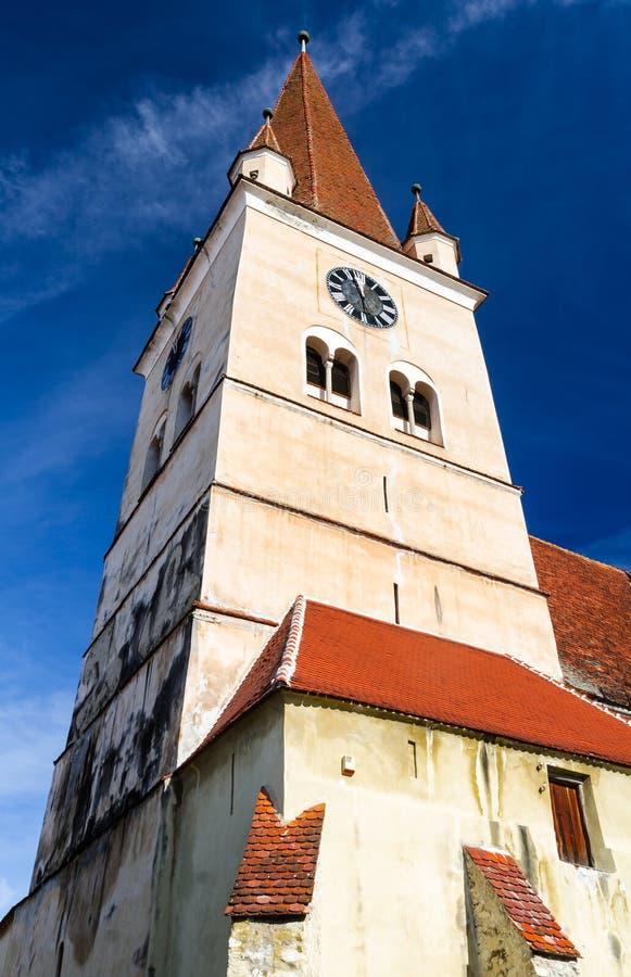 Cisnadie kościelny wierza, Transylvania, Rumunia obrazy royalty free