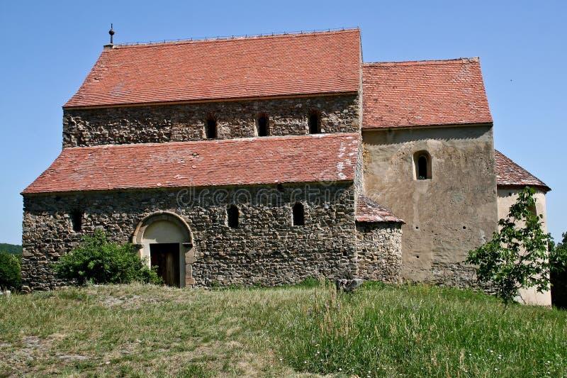 Cisnadioara stärkte kyrkan, Transylvania, Rumänien arkivbild