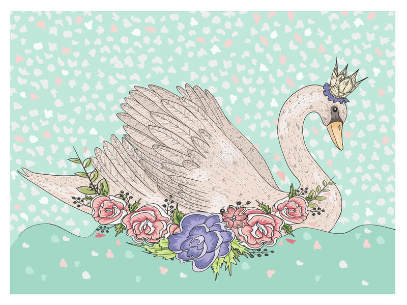 Cisne bonito com coroa e flores Fundo do conto de fadas para crianças ilustração stock