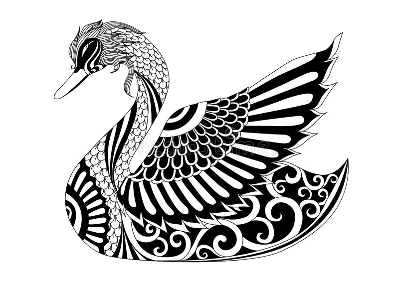 Cisne do zentangle do desenho para a página colorindo, o efeito do projeto da camisa, o logotipo, a tatuagem e a decoração ilustração royalty free