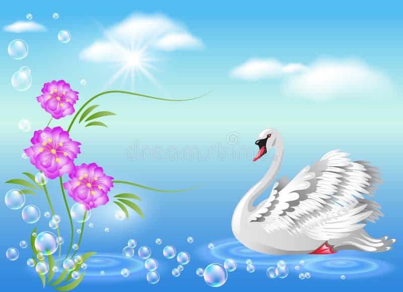 Cisne e flores ilustração do vetor
